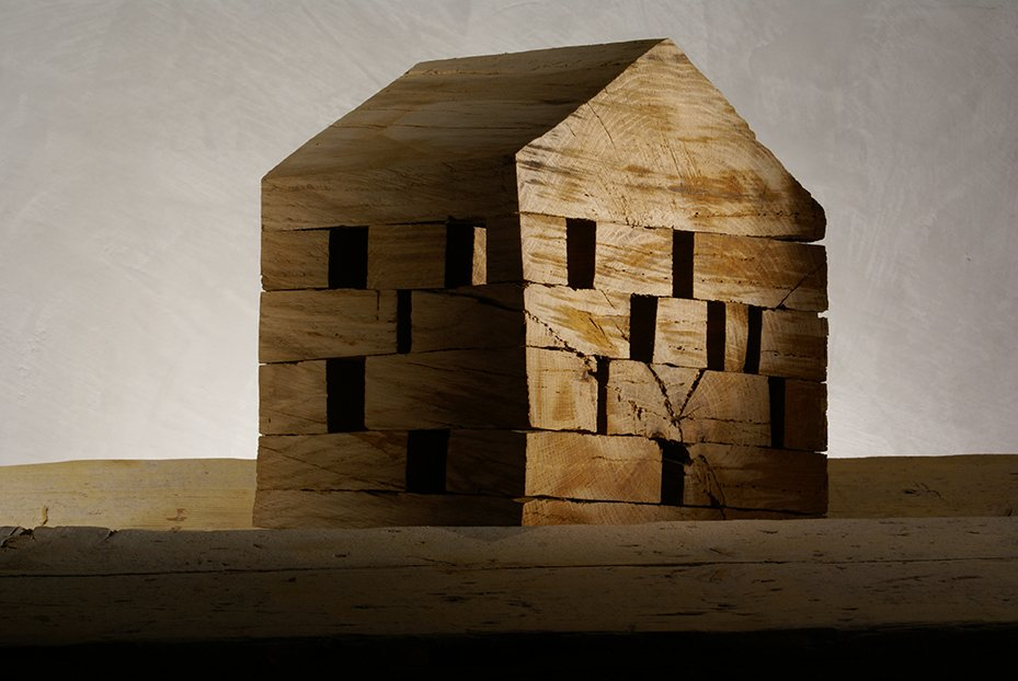 C41, 2006.  In 2004, De Lucchi  began creating a series of small wood structures, each carved using  a chainsaw. The collection is his statement about the essentiality  of architecture.  Photo 12 of 14 in Michele De Lucchi