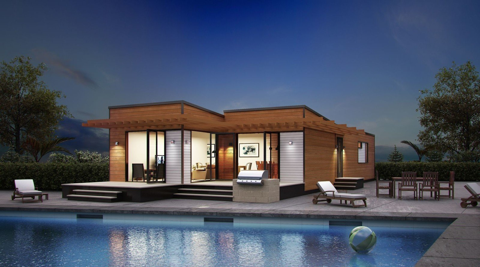 Blu Home's miniature models offer streamlined, flexible, and multifunctional spaces that are designed to be used for various purposes. Tagged: Outdoor, Large Pools, Tubs, Shower, Stone Patio, Porch, Deck, Large Patio, Porch, Deck, Swimming Pools, Tubs, Shower, Trees, and Back Yard.  Photo 6 of 10 in 10 Sunny Poolside Prefabs