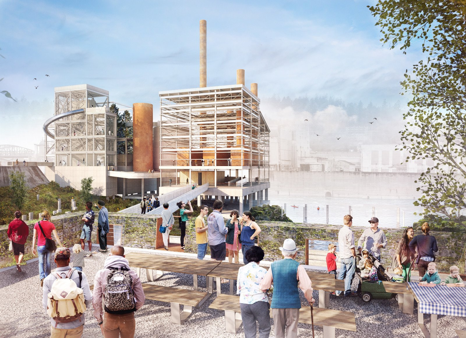 The Woolen Mill Overlook will serve as the public terminus of Main Street, offering 360-degree views of PGE dam, the historic boiler complex, the restored river alcove, and the Public Yard.  Photo 3 of 8 in Snøhetta Designs a New Riverwalk That Will Bring Public Access to Oregon City's Willamette Falls