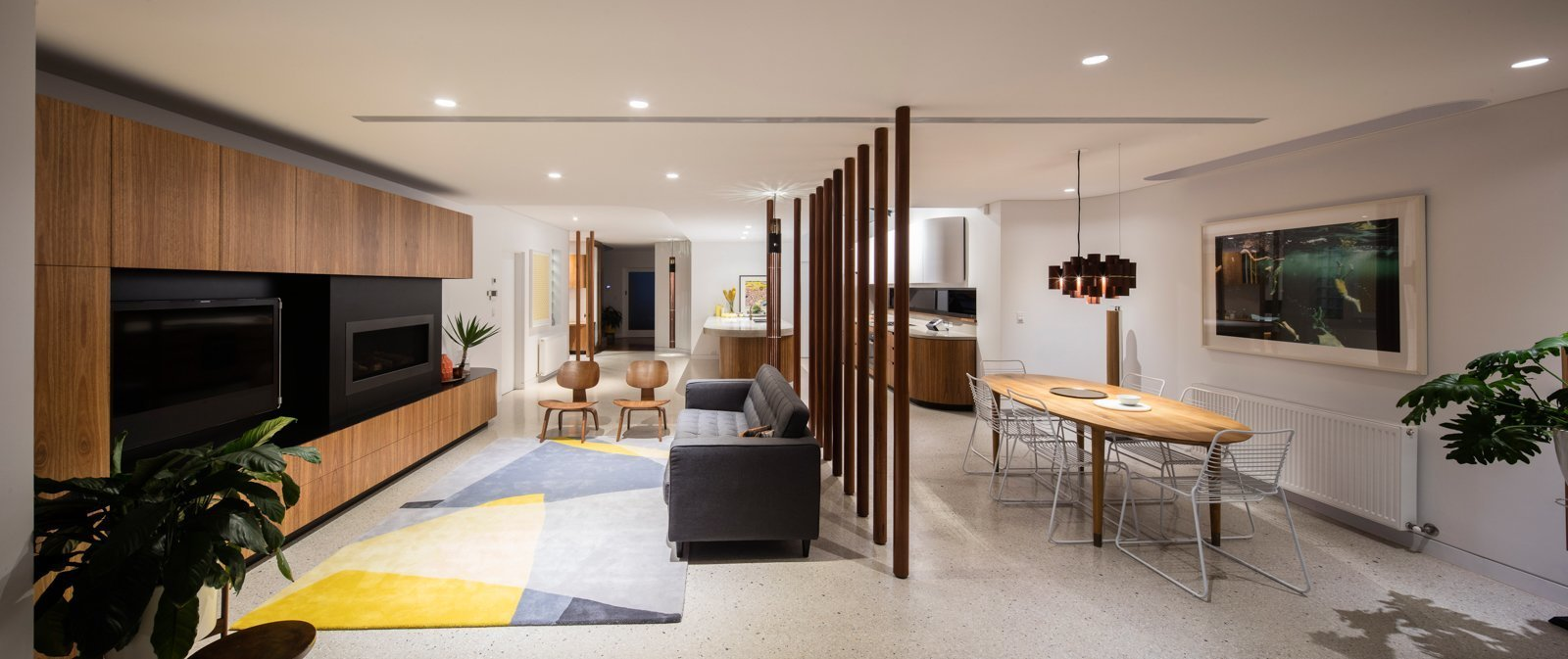 Tagged: Living Room, Sofa, Ceiling Lighting, Table, Pendant Lighting, and Standard Layout Fireplace.  Photo 4 of 12 in A Heritage Art Deco House in Australia Gets a Modern Update