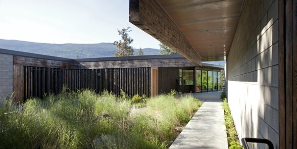 Modern home with outdoor, side yard, shrubs, grass, hardscapes, walkways, and gardens. Photo  of Friesen-Wong Residence