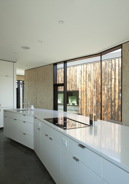 Modern home with kitchen, concrete floor, cooktops, white cabinet, and drop in sink. In the kitchen, the cabinetry is by High Country Cabinets and the countertop is Caesarstone. Photo 9 of Friesen-Wong Residence