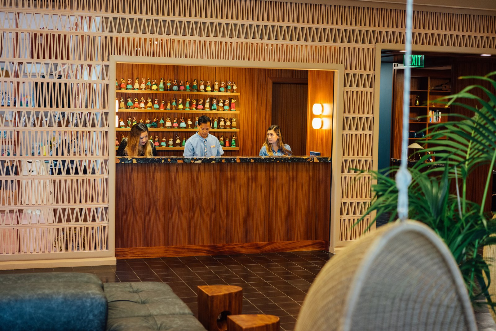 With its 15 floors, The Laylow stands above Kuhio Avenue in Honolulu's Waikiki neighborhood on the South Shore of Oahu. The welcoming, tropical lobby is located on the second floor, providing a place for guests to enter peacefully away from the hustle and bustle of the street.  Photo 3 of 18 in Waikiki's Midcentury Revival Continues to Flourish With a New Jet Set-Inspired Hotel