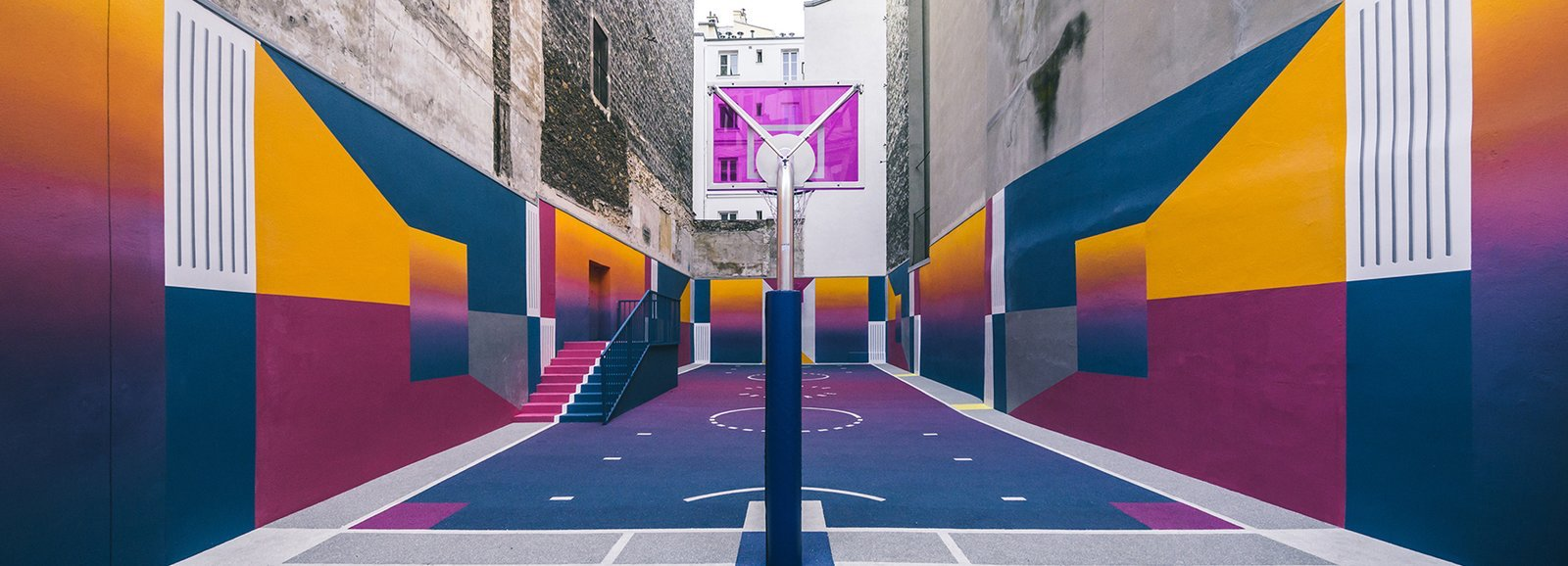 A Technicolor Basketball Court in Paris