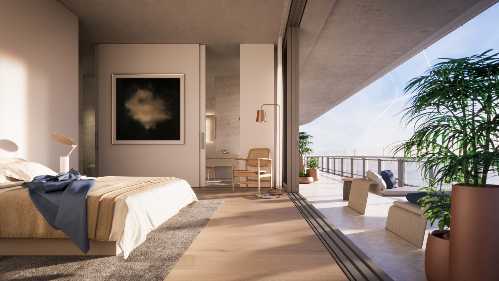 Inside, all the apartments were designed so that upon arrival, the resident is connected to the view of the ocean and Miami.