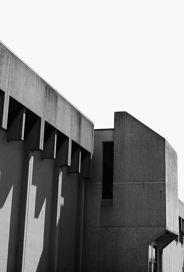 The fortress-like facade of Southside Elementary School, designed by architect Eliot Noyes in 1969 as a junior high school, features Brutalist, precast concrete panels and  slotted windows.