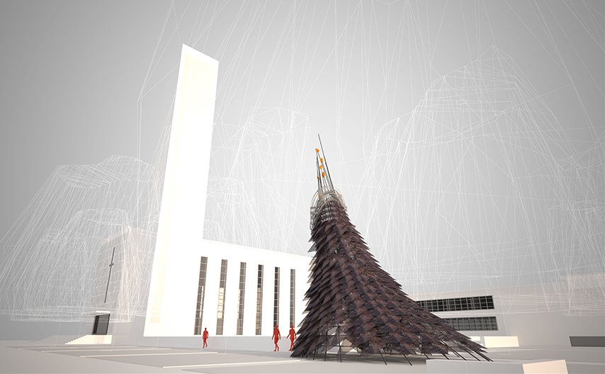 "Wiikiaami by Studio: Indigenous   Constructed of rebar  and perforated copper scales, a contemporary ""wigwam""—wiikiaami  in the language of  the indigenous Miyaamia people—serves as  a gathering space  as well as a gateway  to Eliel Saarinen's First  Christian Church."