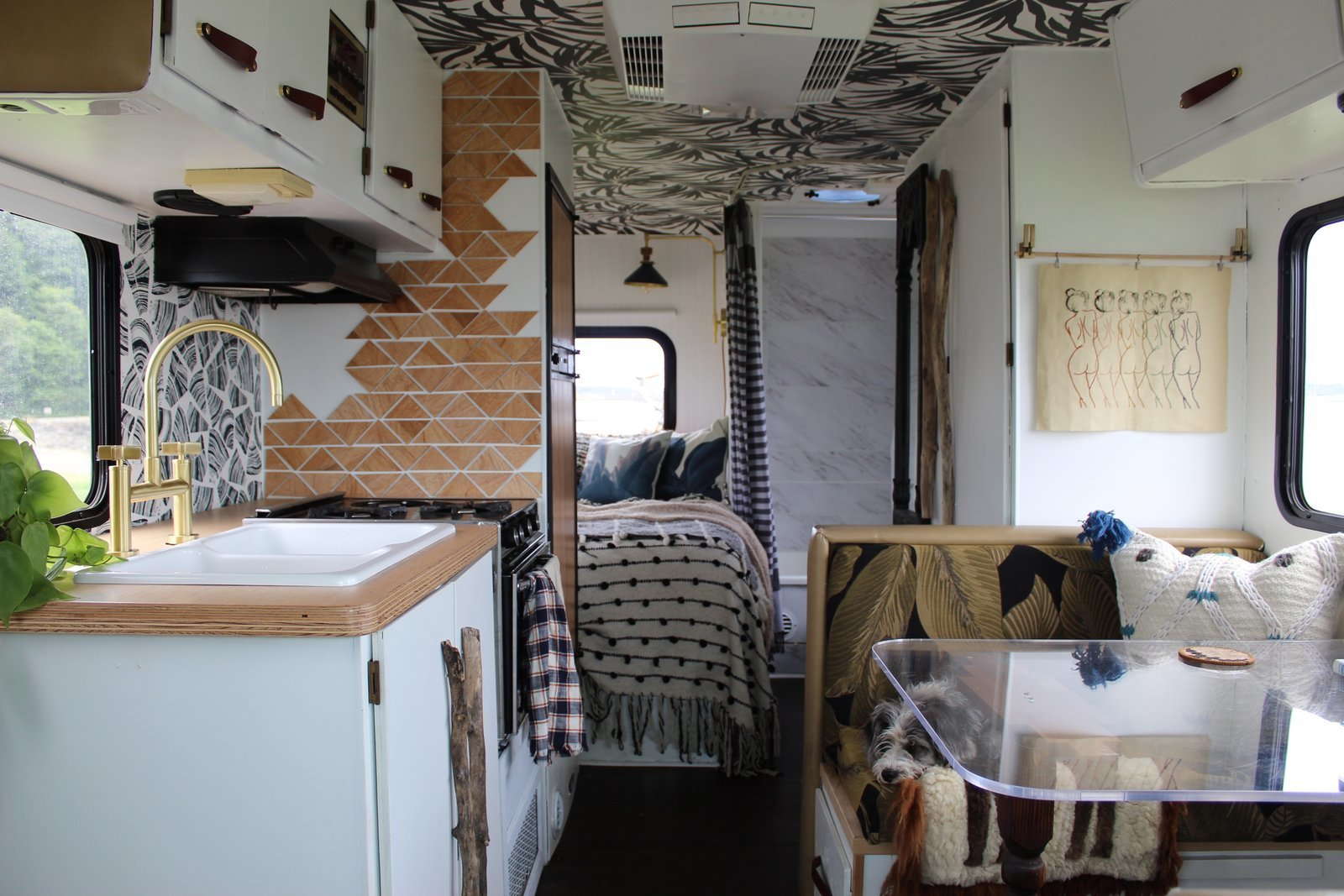 The new, modern-bohemian interiors of the renovated RV.  Photo 2 of 13 in A Portland Couple Renovate a 1982 RV, Turning It Into Their New Home