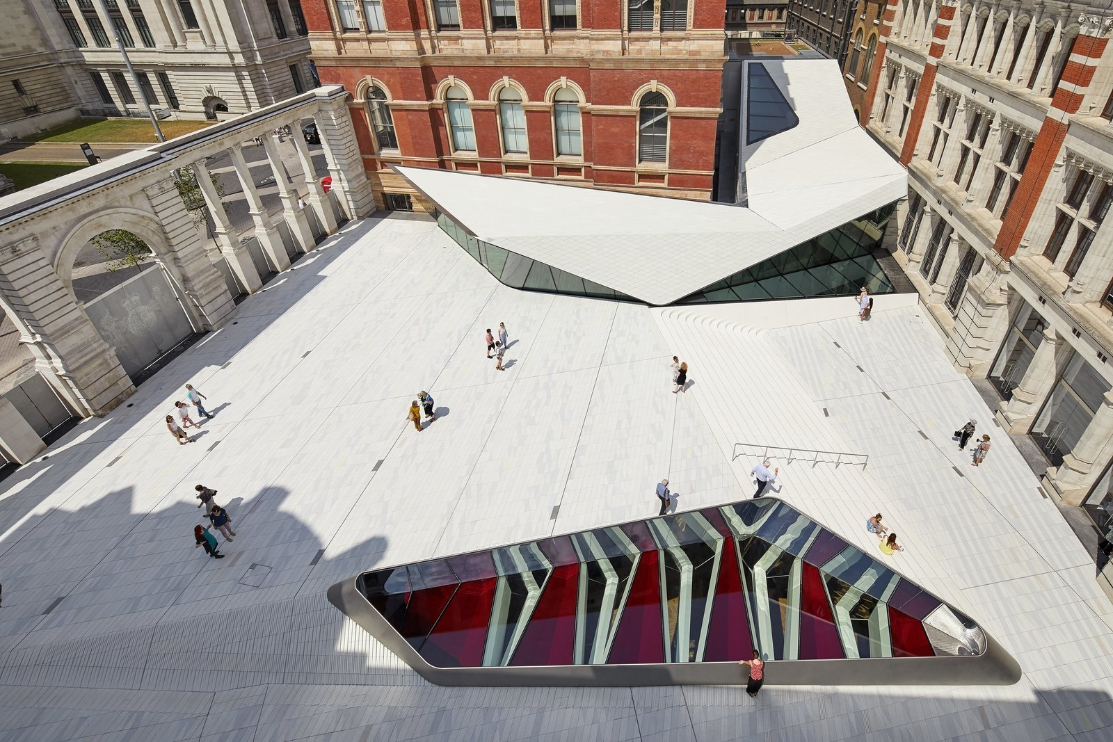 The new courtyard is seen as not an extension of the original building but as an integral part of it.  Photo 3 of 10 in Part of an Epic Expansion, London's V&A Museum Paves its Courtyard With 11,000 Porcelain Tiles
