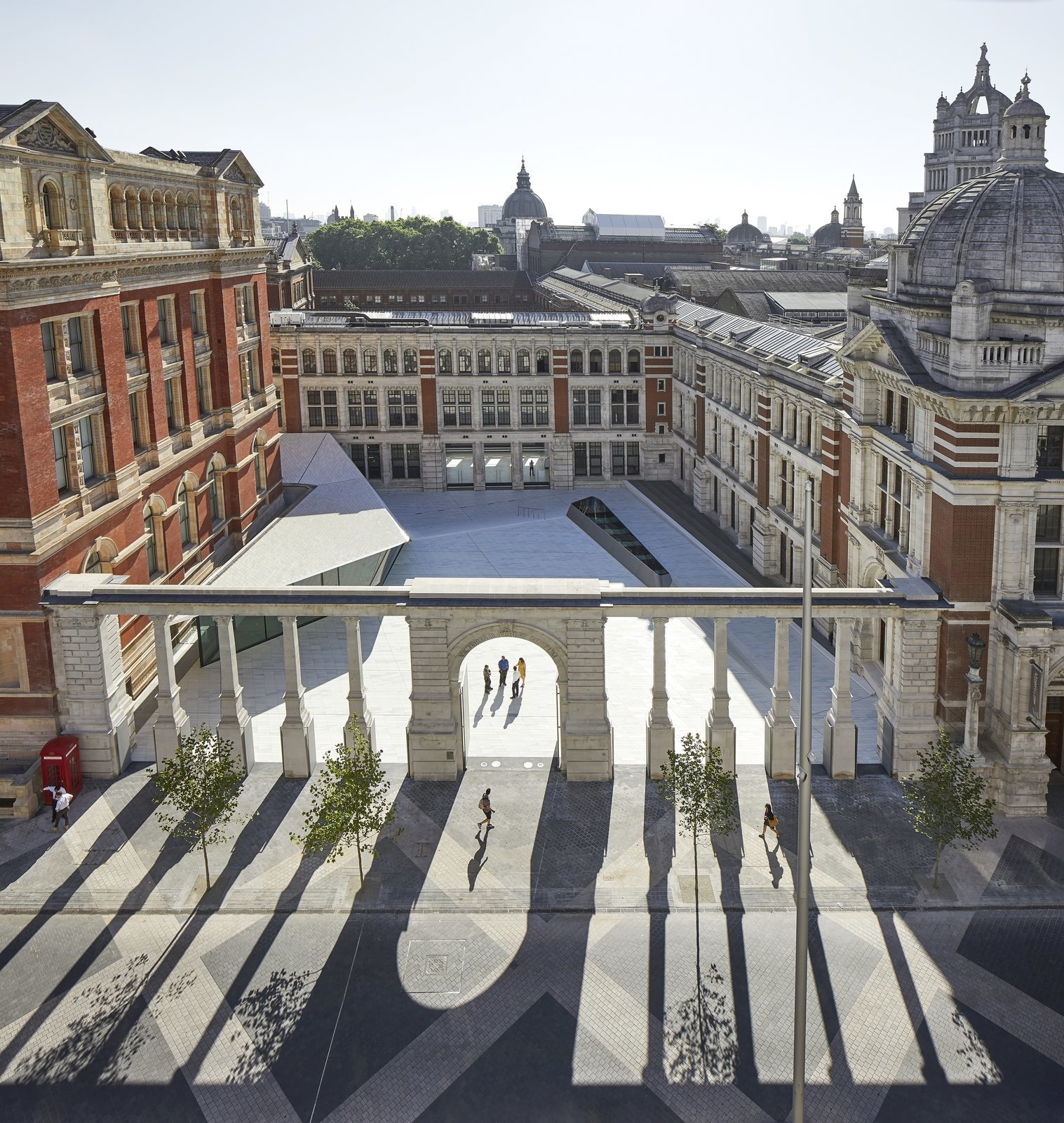 The Sackler Courtyard at the Victoria &Albert Museum's Exhibition Road Quarter  Photo 1 of 10 in Part of an Epic Expansion, London's V&A Museum Paves its Courtyard With 11,000 Porcelain Tiles