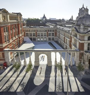 Part of an Epic Expansion, London's V&A Museum Paves its Courtyard With 11,000 Porcelain Tiles - Photo 1 of 10 - Shown here is the Sackler Courtyard at the Victoria & Albert Museum's Exhibition Road Quarter.