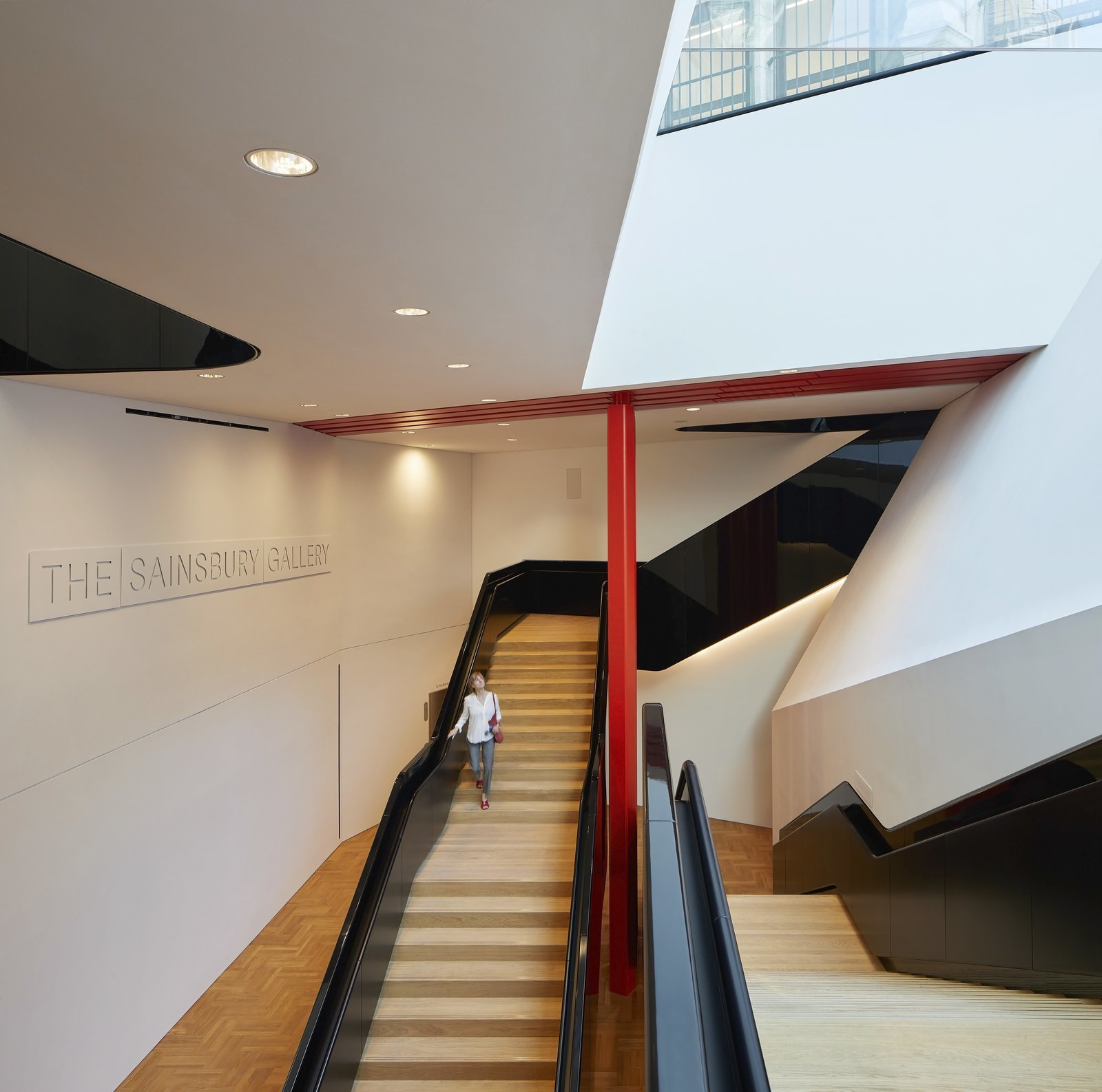 An dramatic staircase leads to the underground gallery space.  Photo 4 of 10 in Part of an Epic Expansion, London's V&A Museum Paves its Courtyard With 11,000 Porcelain Tiles