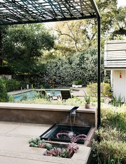 A Laser-Cut Pergola Completes a Tranquil Garden in L.A. That's Perfect For Entertaining - Photo 8 of 8 - Water recirculates from a bench-level channel into a shallow pool bordered by succulents. Montalvo's longtime landscape contractor Santiago Vasquez worked with her on the hardscaping.