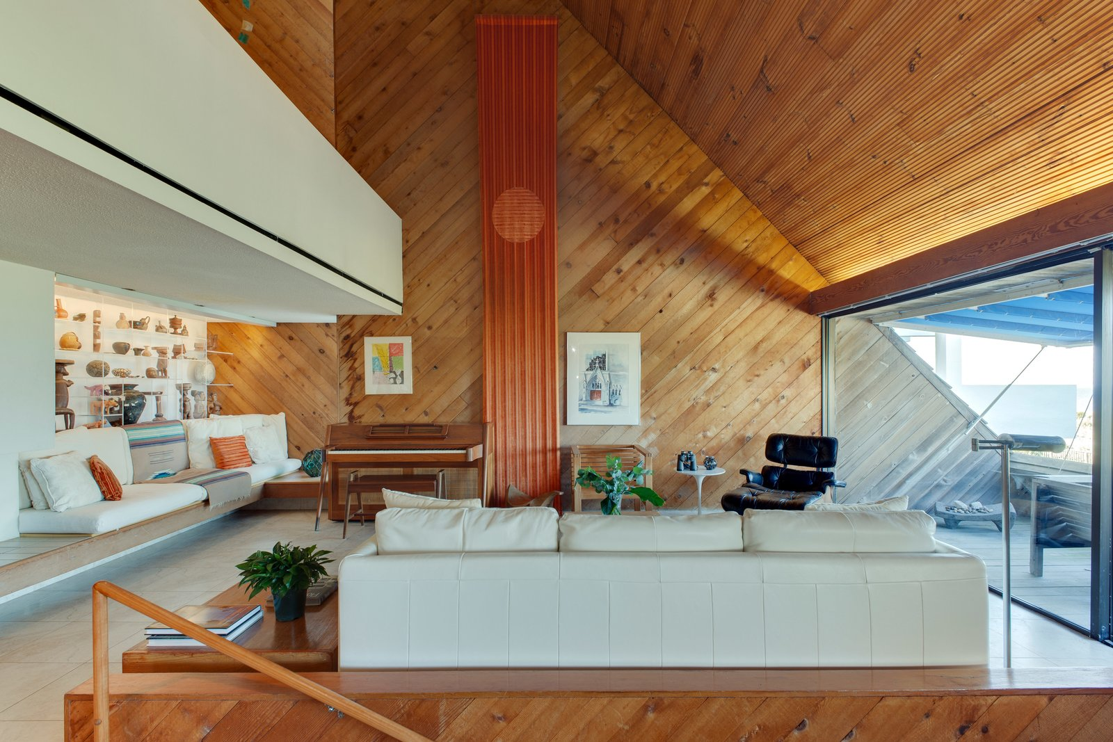 Tagged: Living Room, Sofa, and Chair.  Photo 8 of 13 in A Renowned Florida Architect's Geometric Family Home Hits the Market For the First Time
