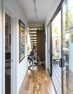 A Family's Cramped Bungalow Is Replaced With an Accessible and Affordable Prefab - Photo 4 of 13 - Ensuring that the house would be accessible for wheelchair users like Marielle Kriesel, who serves on the Santa Monica Disabilities Commission with TJ, guided the design.