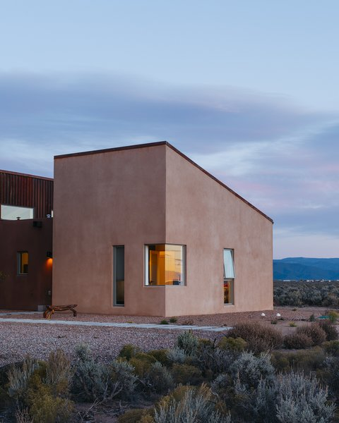 "The house measures approximately 2,500 square feet. Molly, who was born and raised in Taos, says, ""Proportionally, it's a very human scale, and it salutes the unconventional architecture found in local Earthship houses and owner-built homes."""