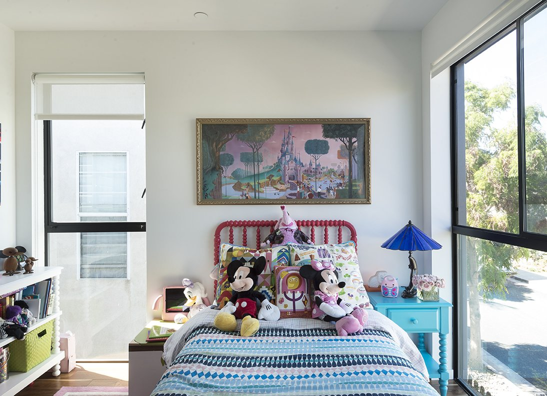 Chloe's bedroom features a Blake Tovin bed and nightstand from The Land of Nod.  The roller blinds throughout are from Steve's Blinds and Wallpaper. Tagged: Kids Room, Bedroom, Night Stands, Bed, Girl Gender, and Pre-Teen Age.  Hill-Heiserman House by Dwell