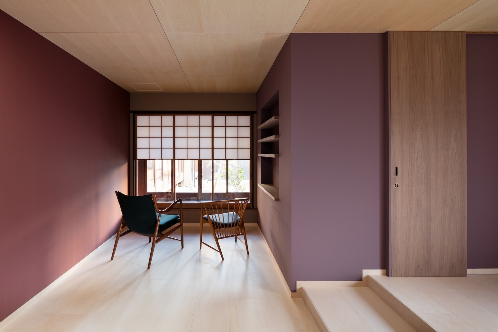 Tagged: Living Room, Chair, and Light Hardwood Floor. A Minimalist Townhouse Provides Serene Accommodations in Historic Kyoto - Photo 5 of 13