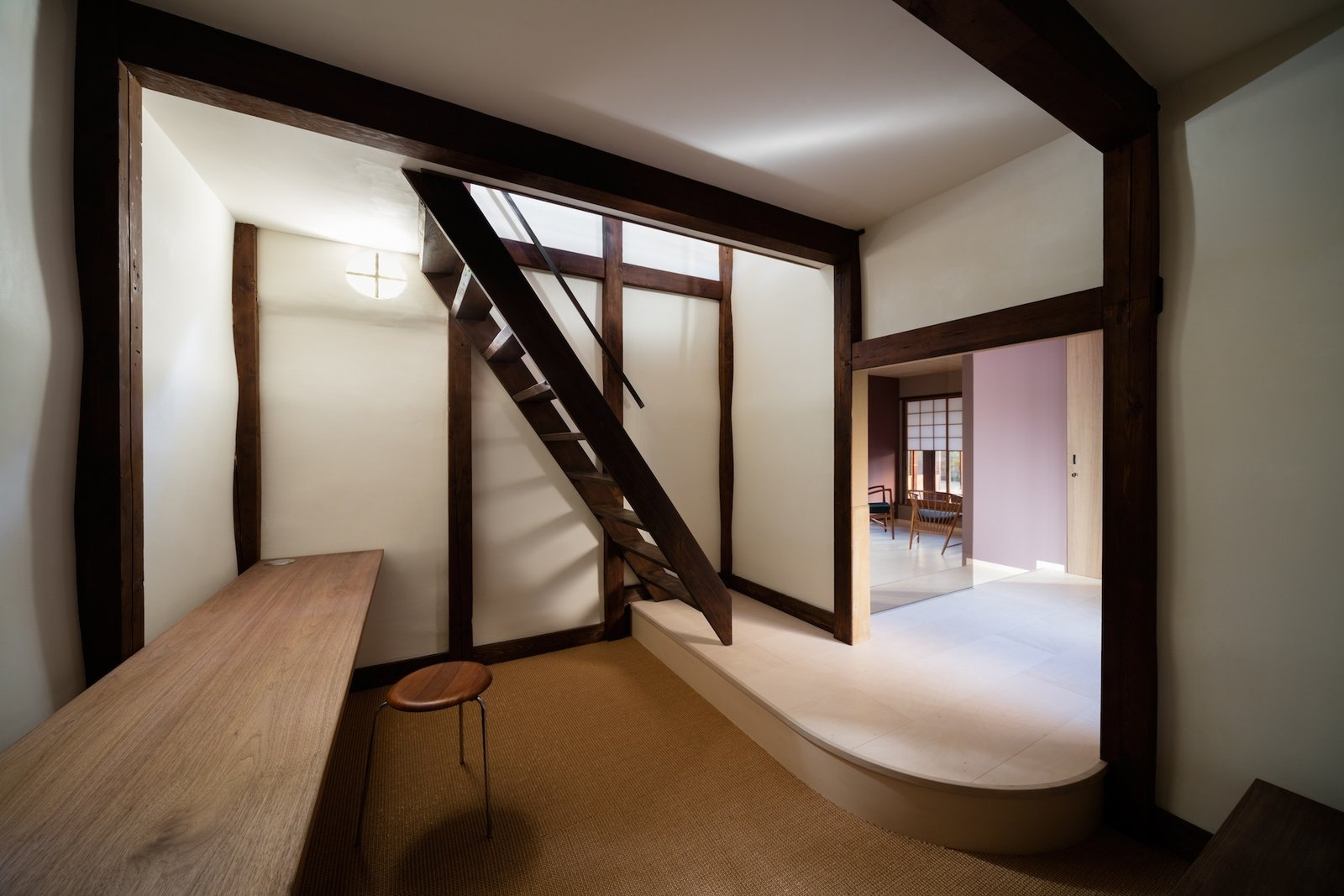 Tagged: Staircase and Wood Tread.  Photo 7 of 13 in A Minimalist Townhouse Provides Serene Accommodations in Historic Kyoto