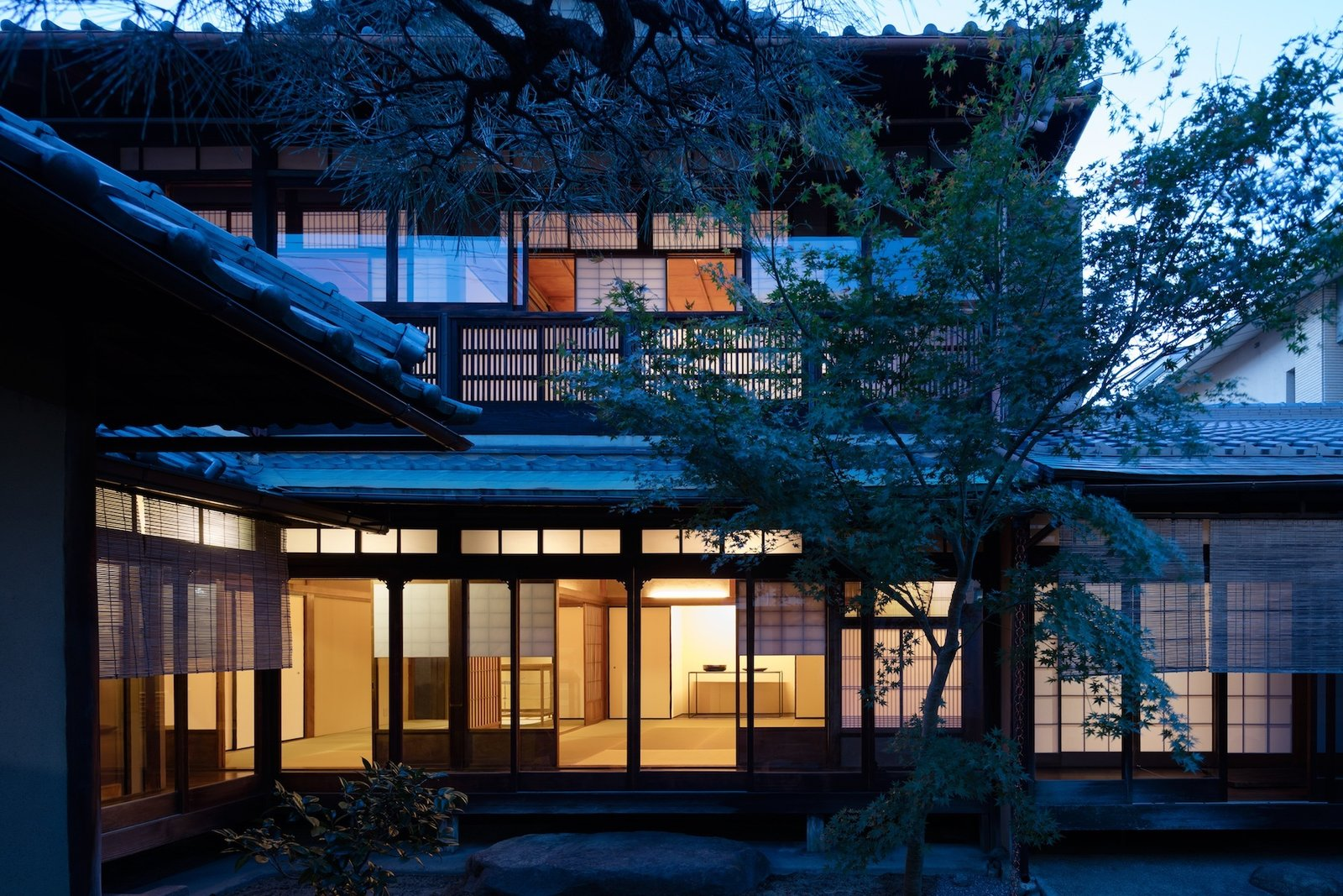 Tagged: Outdoor, Garden, Hardscapes, Trees, and Walkways.  Photo 12 of 13 in A Minimalist Townhouse Provides Serene Accommodations in Historic Kyoto