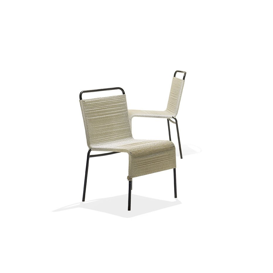 A pair of 1960s dining chairs,  made of enameled steel and nylon cord, by Van Keppel-Green.