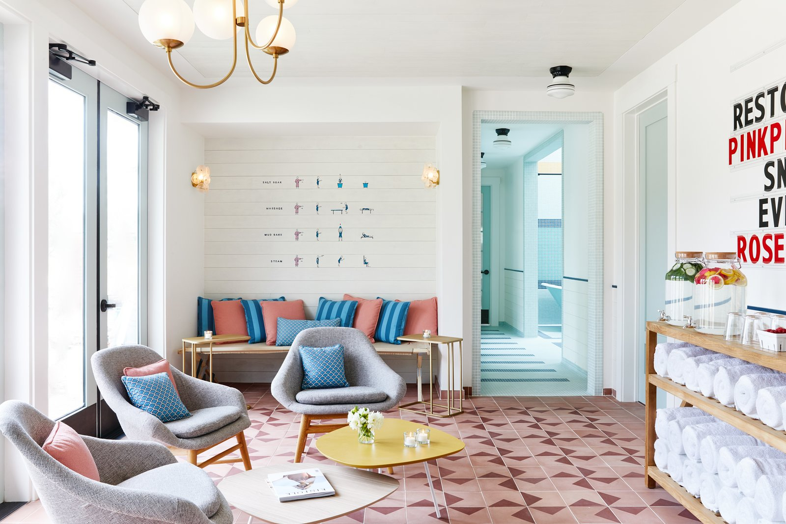 Tagged: Living Room, Chair, Bench, Coffee Tables, Shelves, Ceiling Lighting, End Tables, Pendant Lighting, and Wall Lighting.  Best Photos from A Napa Valley Motor Lodge Reinterprets the Classic Roadside Motel