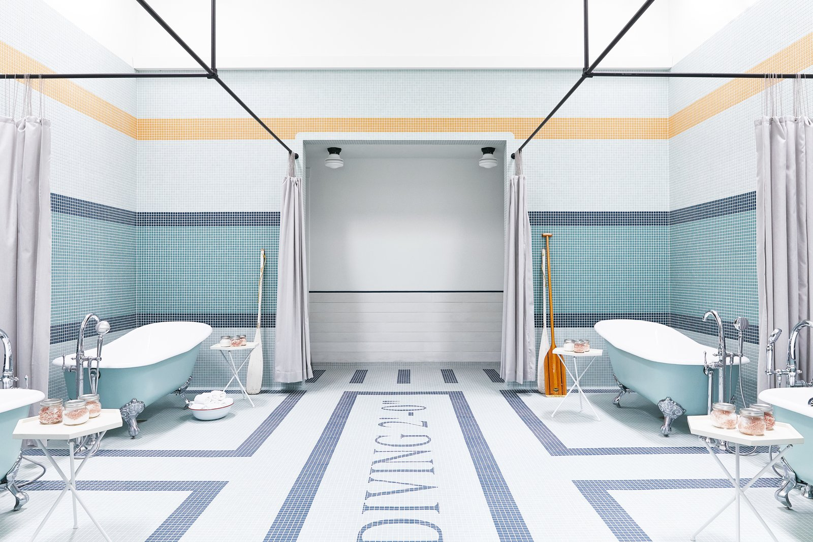 Outfitted with four mint green clawfoot tubs, the bathing room is where guests can steep in medicinal salt soaks. Tagged: Bath Room, Freestanding Tub, and Soaking Tub. A Napa Valley Motor Lodge Reinterprets the Classic Roadside Motel - Photo 9 of 9