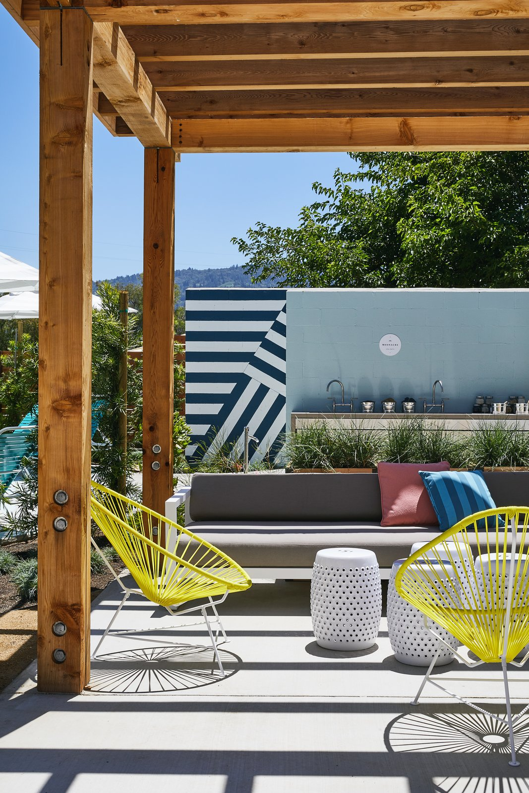 An outdoor relaxation area also offers a Tagged: Outdoor and Concrete Patio, Porch, Deck. A Napa Valley Motor Lodge Reinterprets the Classic Roadside Motel - Photo 8 of 9