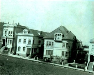 A Historic Victorian in San Francisco Is Meticulously Transformed Into a Modern Family Home - Photo 2 of 26 - Historic photograph, not dated, post-1902. The subject property is shown at the far left with the original detailing intact. This image, representing the most authentic snapshot of the home's original appearance, was critical to the facade's reconstruction.