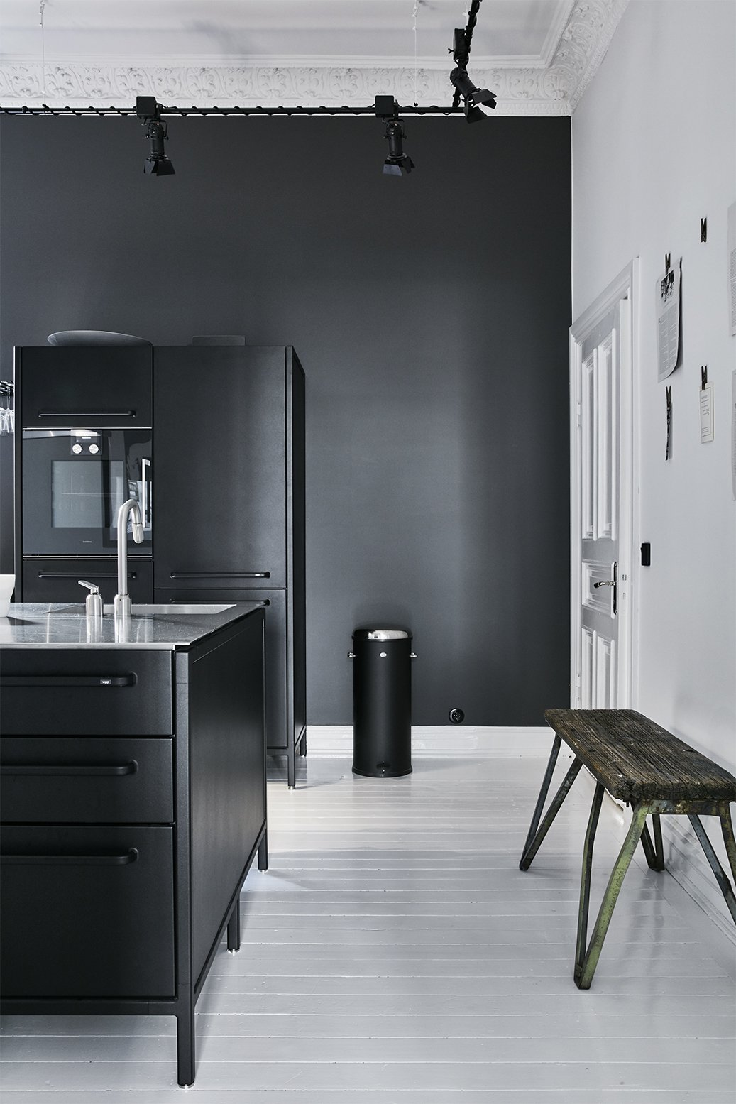 - Gothenburg, Sweden Dwell Magazine : September / October 2017 Tagged: Kitchen, Track Lighting, Wall Oven, Refrigerator, Drop In Sink, and Painted Wood Floor.  Photo 8 of 11 in A Careful Renovation of a 19th-Century Flat in Gothenburg Brings it Back to Life