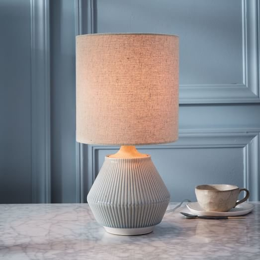 Roar + Rabbit Ripple Ceramic Table Lamp – Small Narrow (Cool Gray)