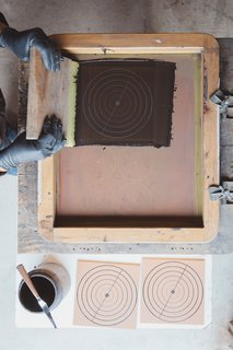 Go Behind the Scenes With a Process-Driven Handmade-Tile Company in California - Photo 11 of 13 - Patterning:  Using a method inspired by the cuerda seca technique, hand-painted tiles are screen-printed with a dry line formula made with oil or wax to keep glazes separate during firing.