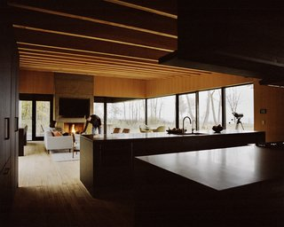 Plagued Ash Trees Were Repurposed to Create This Charred-Cedar Clad Home on Lake Michigan - Photo 6 of 9 - The residents went with a Control4 automation system to handle lighting, sound, and window shades; Traverse City–based Waara Technologies did the installation. A fireplace designed by Desai Chia and built by BRD anchors the living area.