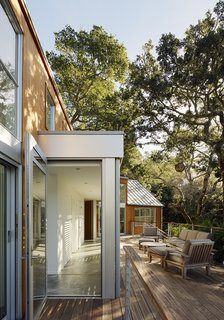 Space and Storage Needs Guide the Expansion of a Family's Cottage North of San Francisco - Photo 3 of 12 - Ventana windows and an ipe deck face a towering oak tree; Willow Balls from San Francisco Flower Mart hang from its branches.