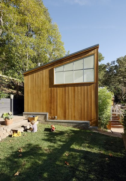 "The home's cedar siding is untreated, and its zinc  roof will ""mellow"" over time, according to architect Peter Pfau."