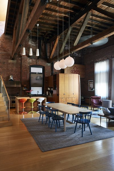 The second-story loft, formerly home to owner Nick Lloyd and his wife, artist and professor Megan Craig, now provides a living area, a kitchen, and two bedrooms for traveling musicians.