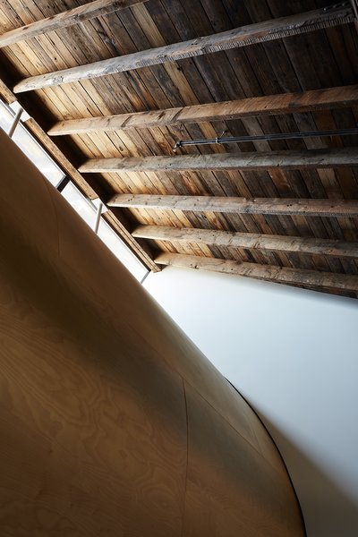 A giant plywood scoop curves down from a row of clerestory windows in the loft, refracting light.