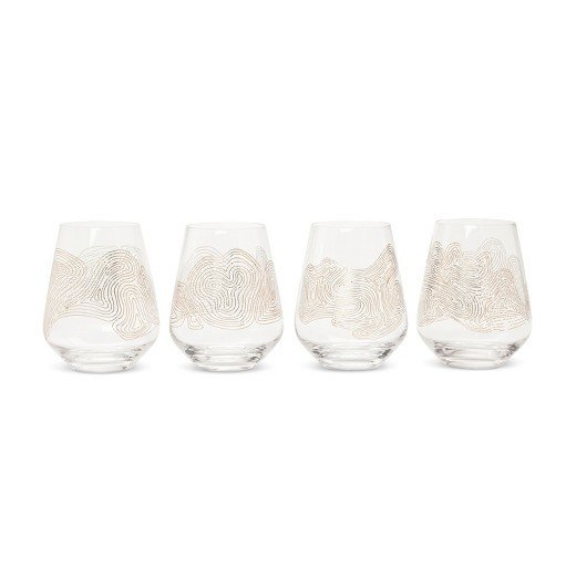 Modern by Dwell Magazine Stemless Metallic Wine Glasses (Set of 4)