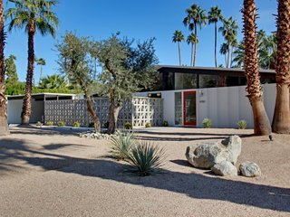 8 Midcentury-Modern Vacation Homes You Can Rent in Palm Springs - Photo 2 of 12 - Also designed by  William Krisel, this restored midcentury-modern home was built by the Alexander Construction Company in 1959. It features vaulted tongue-and-groove ceilings, porcelain tile floors, and midcentury abstract paintings. Plus, it's home to classic designs by Warren Platner, George Nelson, and Charles and Ray Eames.