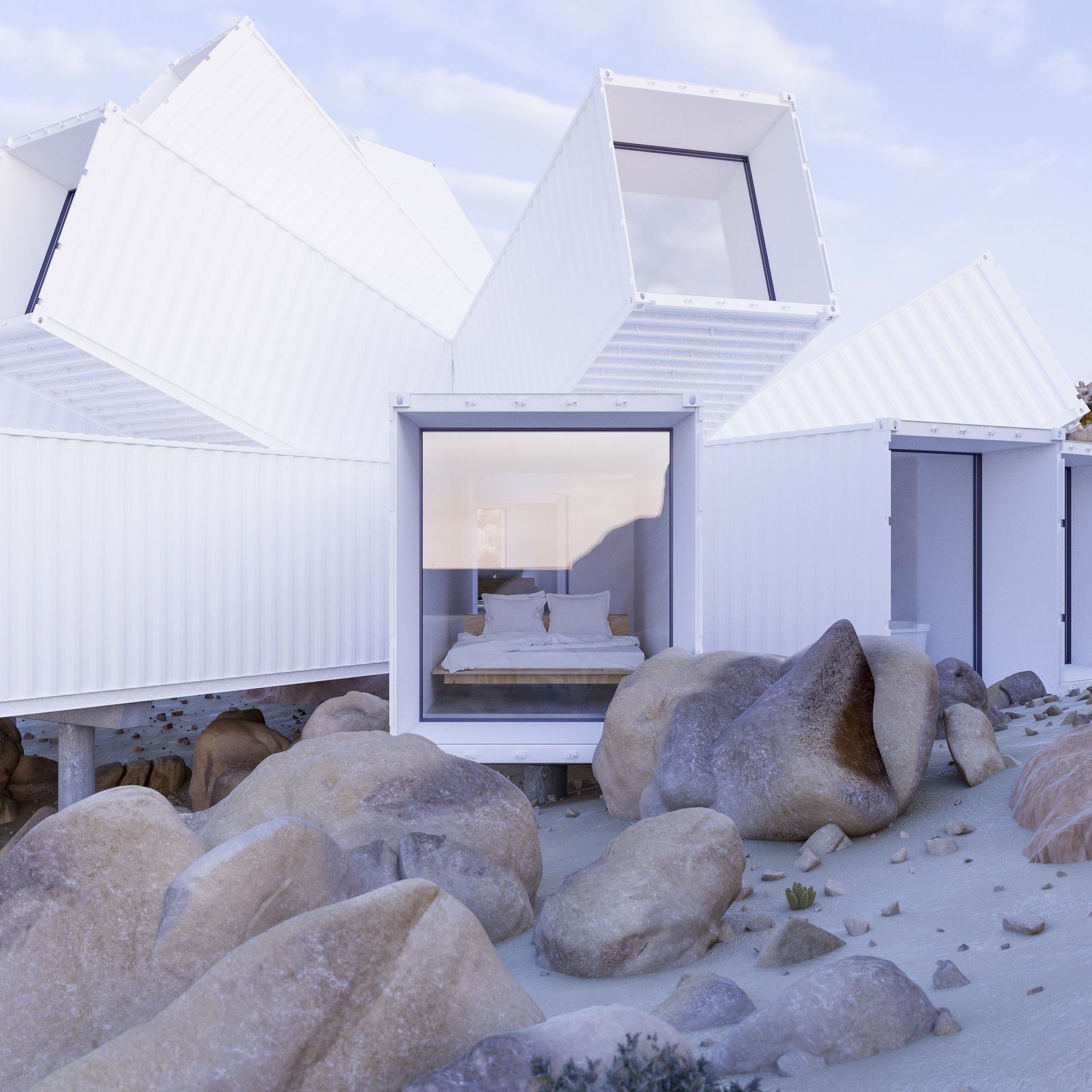 A previously unrealized design by Whitaker Studio will become a vacation home in Joshua Tree, each shipping container strategically angled for protection from the climate, privacy, and desert views.  Shipping containers, angled in various directions to capture views or provide privacy, will make up the exoskeleton of the residence. The approximately 2,000-square-foot home will include three ensuite bedrooms, a kitchen, and a living room. A garage with a solar panel roof will power the dwelling. Nestled in a gully created by stormwater, Joshua Tree Residence engages with the topography and climate for a dynamic desert escape. Tagged: Windows and Metal.  Best Photos from A Film Producer's Desert Retreat Is a Starburst of Shipping Containers