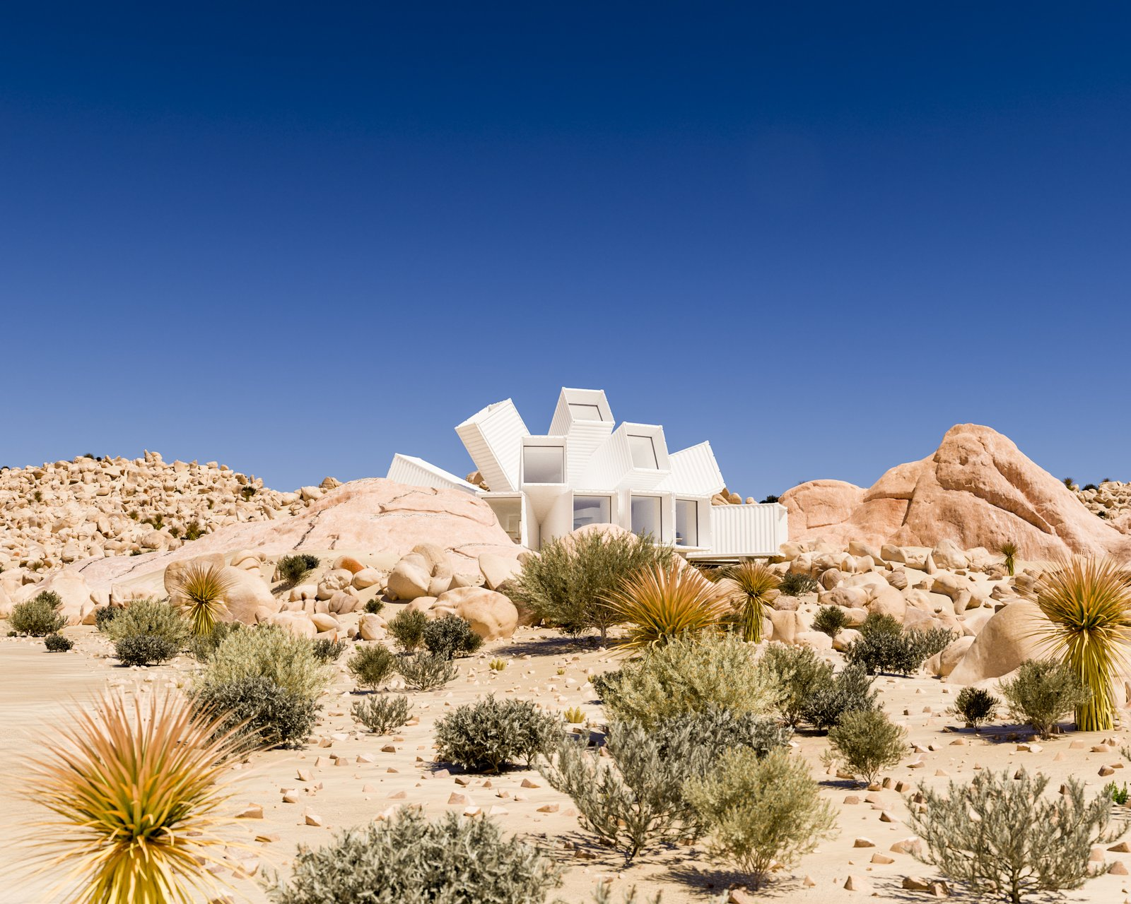 Tagged: Exterior, Shipping Container Building Type, Metal Roof Material, and Metal Siding Material.  Best Photos from A Film Producer's Desert Retreat Is a Starburst of Shipping Containers