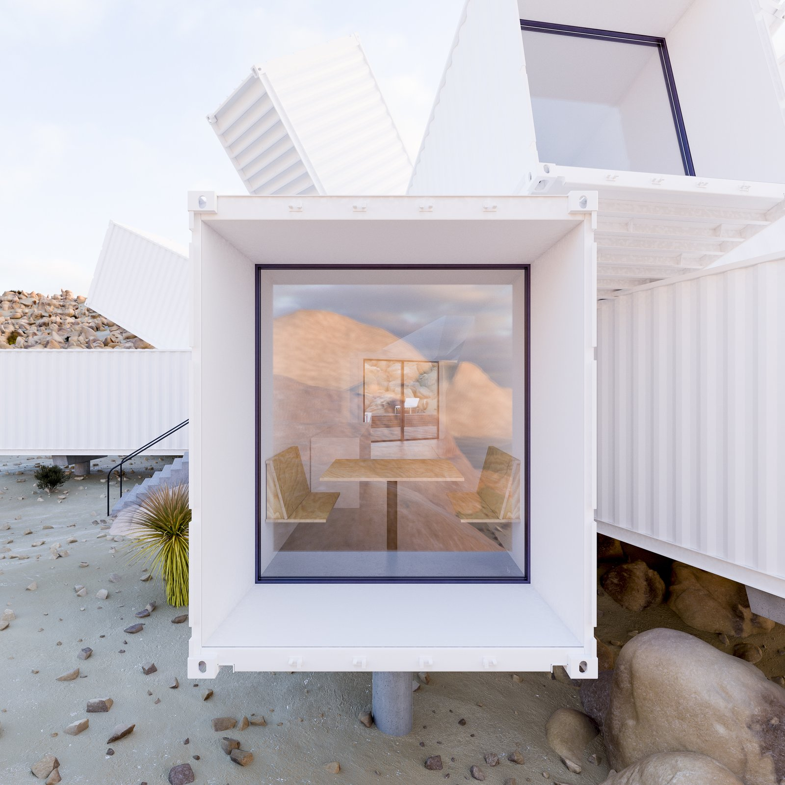 Tagged: Windows.  Best Photos from A Film Producer's Desert Retreat Is a Starburst of Shipping Containers