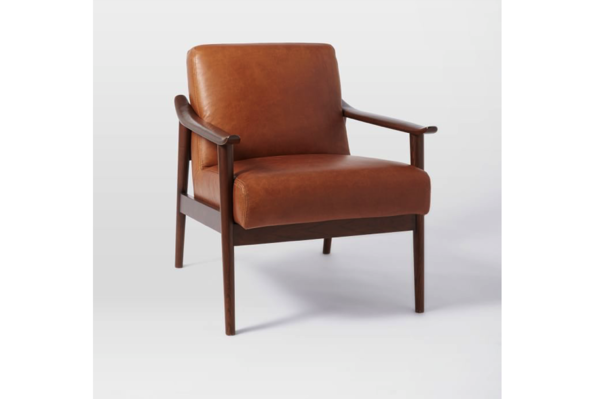 Mid-Century Leather Show Wood Chair from West Elm