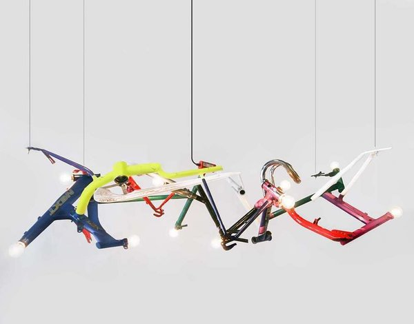 Bicycle Linear Chandelier from Ridgely Studio Works