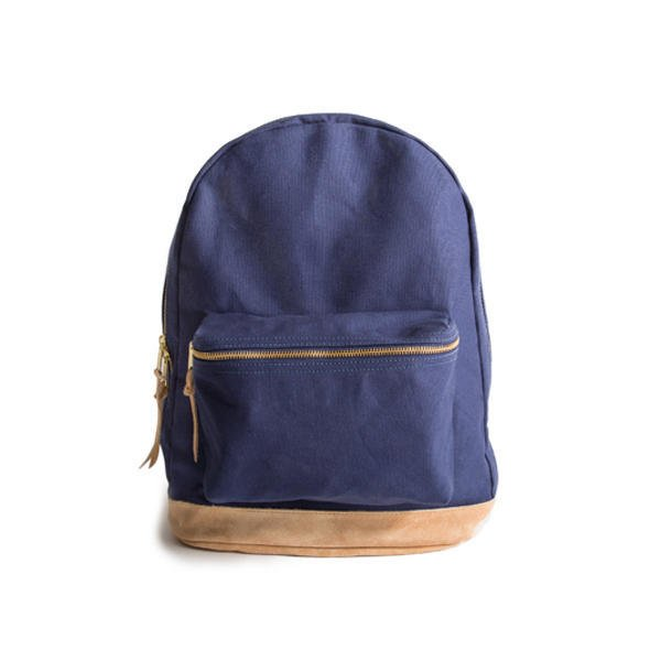 Canvas & Suede Backpack (Blue)