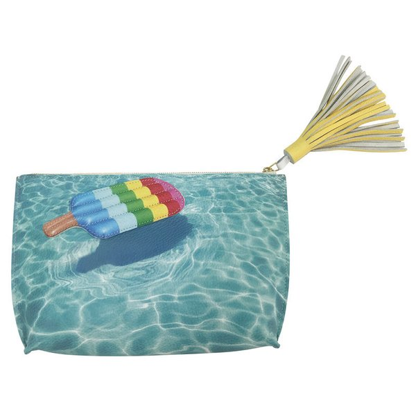 Popsicle Floatie Pebbled Leather & Suede Clutch