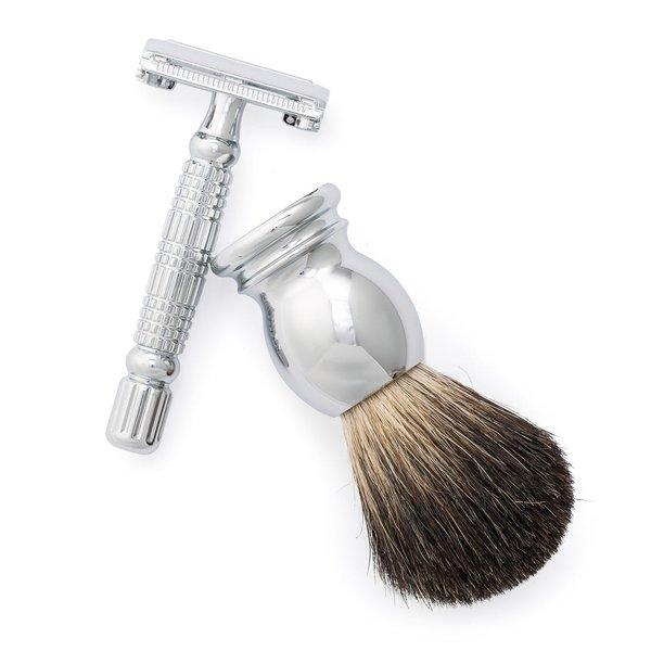 Chrome Razor & Shave Brush  from Olivina Men