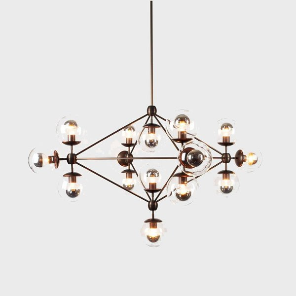 Modo 4 Sided Chandelier - 15 Globes from Roll and Hill