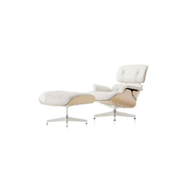 Eames Lounge Chair with Ottoman, White Ash from Herman Miller