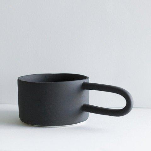 """Guten Co. Matte Black Porcelain Mugs """"Hairpin"""" (Set of 2)"""